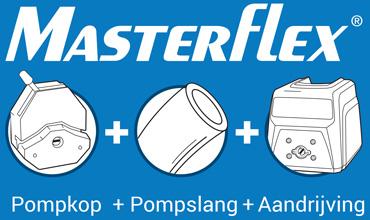Masterflex pompslang, pompkop en aandrijving
